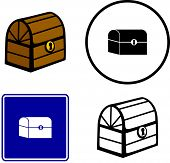 wooden pirate treasure chest illustration, sign and symbol