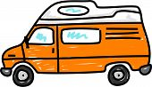 image of campervan  - orange campervan isolated on white  - JPG