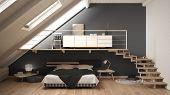 Loft Mezzanine Scandinavian Minimalist Bedroom, Gray Classic Interior Design poster
