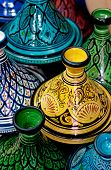 stock photo of tagine  - Colorful Tagines traditional Moroccan cooking pots in Marrakesh - JPG