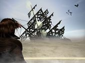 picture of pirate ship  - man in desert looking out on deserted pirate ship - JPG
