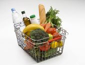 foto of grocery-shopping  - Groceries in Shopping Basket - JPG