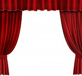 image of curtains stage  - Red Velvet Theater curtains over white background - JPG