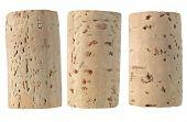 Three wine corks isolated high res macro