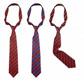 Three neck ties isolated with clipping path