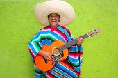 Mexican typical man playing guitar poncho on green wall