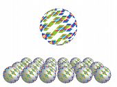 foto of parallelogram  - The symmetry glass spheres with colored parallelograms - JPG