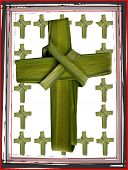 image of divine mercy  - crosses constructed of palms in a box - JPG