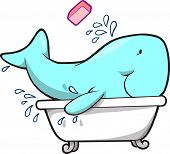 Whale taking a bath Vector Illustration