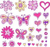 stock photo of girlie  - Flower Heart Butterfly Set Vector Illustration - JPG