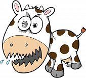 Crazy Cow Vector Illustration