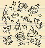 Outer Space Doodle Sketch notebook Elements Vector Illustration Set