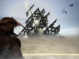 foto of pirate ship  - man in desert looking out on deserted pirate ship - JPG