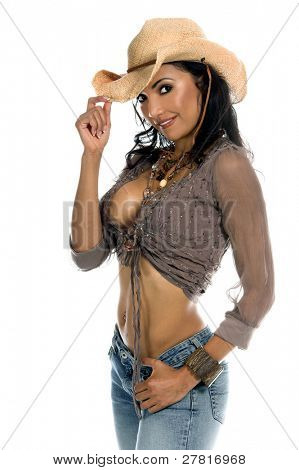 Picture or Photo of Super sexy rodeo cowgirl in torn jeans, boots and cowboy hat