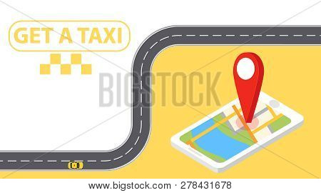 Taxi Banner Isometric Online Mobile