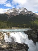 Top Of Athabasca Falls And Mt. Kerkeslin Jasper National Park, Alberta, Canada