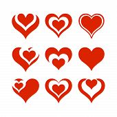 Heart On Valentines Day In Love Vector Lovely Red Sign On Hearted Celebration And Greeting Card With poster