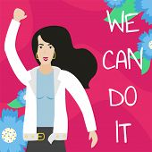Vector Feminist Illustration. Girl Power Poster. We Can Do It. International Womens Day. poster