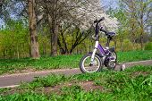 Two-wheeled White-purple Bike With Extra Side Wheels poster
