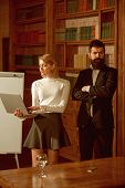 Internet Surfing Concept. Pretty Woman And Bearded Man Perform Internet Surfing On Laptop. Universit poster