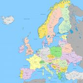 Europe Political Map | High Detail Color Vector Atlas With Capitals, Cities, Towns Names, Seas, Rive poster