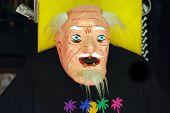 Paper mache mask for  Día de los Muertos - Day of the Dead Celebrations on Olevera Street, Los Angeles, California