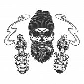 Bearded And Mustached Gangster Skull In Beanie Hat Smoking Cigar And Skeleton Hands Holding Pistols  poster