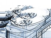 A mechanical drawing  style photo iluustration of ghosted computer hard drives