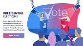 Vector Group Voter Watching Debates Candidate. Banner Illustration Presidential Elections. Performan poster