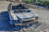 Burnt Car In Malibu Following The Wildfires In California In 2018. poster