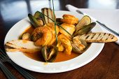 Cioppino, an Italian dish made of fresh seafood including prawns, scallops,clams,mussels and salmon