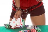 Sexy woman at a poker table showing a hearts Royal Flush Generic no label card backs from China