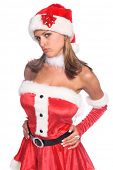 Sexy Ms. Santa Claus pouting isolated over white
