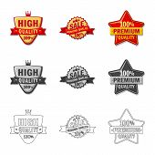 Isolated Object Of Emblem And Badge Sign. Collection Of Emblem And Sticker Stock Symbol For Web. poster