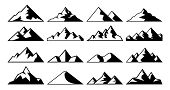 Mountain Peak Icon. Tibet Mountains, Berg Hills Tops And Everest Hill Landscape Vector Icons Set poster