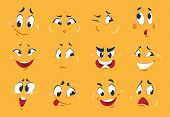 Funny Cartoon Faces. Angry Character Expressions Eyes Doodle Crazy Mouth Fun Sketch Weird Comic. Vec poster