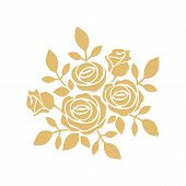 Golden Roses Icon Vector In Modern Flat Style For Web, Graphic And Mobile Design. Roses Icon Vector  poster