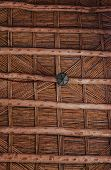 Maroccan Wooden Twig Ceiling. Bamboo Ceiling In African House. Traditional Wooden Ceiling In The Hom poster