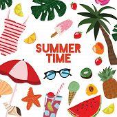Cartoon Summertime Traveling Template Card Poster. Vector poster