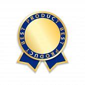 Ribbon Award Best Product Of Year 2017. Gold Ribbon Award Icon Isolated White Background. Best Produ poster