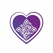 Vector Illustration Of I Love You Qr Code In Purple Heart On White Background. Can Be Used As Valent poster