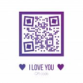 Vector Illustration Of I Love You Qr Code In Purple Color With Squares On White Background. Can Be U poster