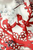 Traditional Chinese paper-cut over ancient painting,Closeup.