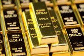 Stack Of Gold Bar Bullions Ingot, Investment Asset For Crisis Safe Haven For Investment Or Reserve F poster
