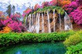 Waterfall Landscape Of Plitvice Lakes Croatia. poster