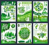 Earth Day Eco Banner Of Save Planet And Go Green Concept. Ecology And Environment Protection, Recycl poster