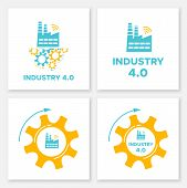 Factory And Gear Industry 4.0 Concept Set Vector Illustration. Manufacturing Digital Technology And  poster