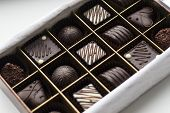 Assortment Of Chocolates In Box (selection Focus). Close Up Assortment Of Chocolate Candies In Box.  poster
