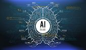 Futuristic Design Of An Artificial Intelligence Brain With Futuristic Hud Elements. Abstract Glowing poster