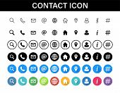 Contacts Icon Set. Collection Social Media Or Communication Symbols. Contact, E-mail, Mobile Phone,  poster